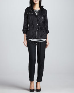 Joie Barker Nylon Zipper Jacket, Millie Striped Slub Sweater & Sayla Printed-Side Pants