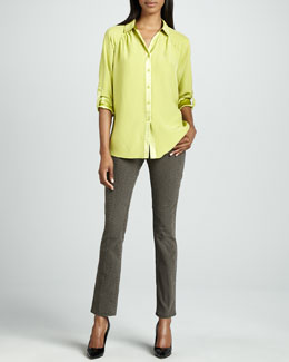 Studio 148 by Lafayette 148 New York Romina Blouse & Reptilian-Print Stretch Jeans
