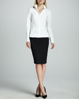 Lafayette 148 New York Cybil Italian Stretch Blouse & Italian Stretch Wool Skirt