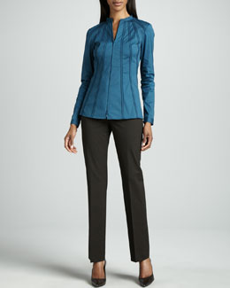 Lafayette 148 New York Stretch Zip-Front Blouse & Barrow Pants, Coffee