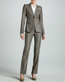 Studio 148 by Lafayette 148 New York Desma Jacket, Cybil Italian Stretch Blouse & Barrow Pants, Coffee Multi