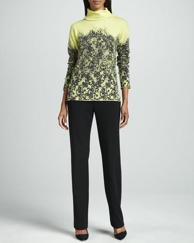 Lafayette 148 New York Printed Cashmere Sweater & Punto Milano Straight-Leg Pants