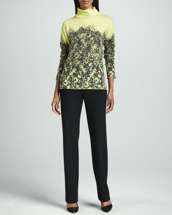 Printed Cashmere Sweater & Punto Milano Straight-Leg Pants