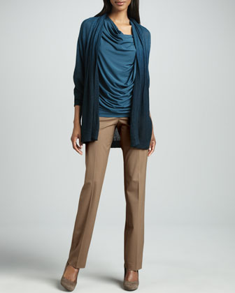Hand Dip-Dyed Cardigan, Draped Cowl-Neck Tunic & Barrow Pants, Cammello Melange