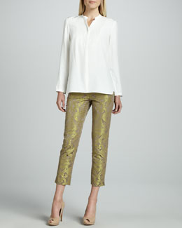 Lafayette 148 New York Merrill Blouse & Cropped Pants with Metallic Highlights