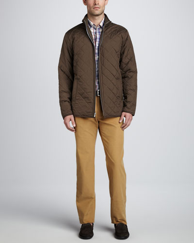 Peter Millar Chesapeake Quilted Jacket, Cermic Plaid Peach-Washed Shirt & Hannover Corduroy Pants