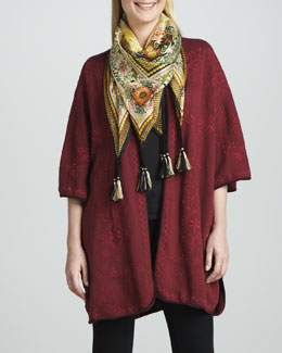 JWLA for Johnny Was Claudine Embroidered Poncho & Silk Dragon Scarf, Women's
