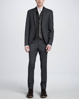 Lanvin Micro-Check English Jacket, Contrast Striped Dress Shirt & Micro-Check English Trousers