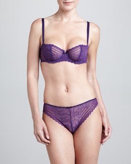 Chantelle Merci Stretch Lace Demi Bra & Thong, Violet