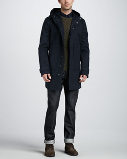 Vince Waterproof Hooded Park, Fisherman Cable-Knit Sweater, Paisley-Print Sport Shirt & Dry Selvedge Jeans