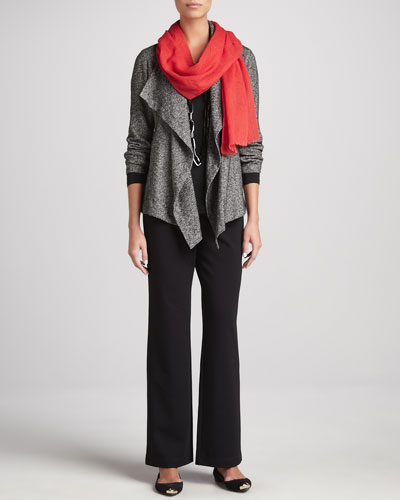 Eileen Fisher Herringbone Cascade-Front Jacket, Jersey Top & Straight-Leg Ponte Pants, Petite