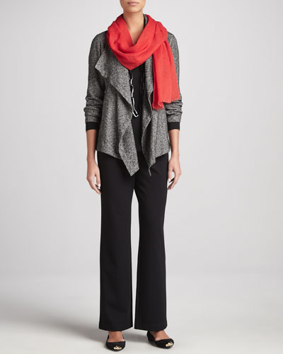 Eileen Fisher Herringbone Cascade-Front Jacket, Jersey Top & Straight-Leg Ponte Pants, Women's