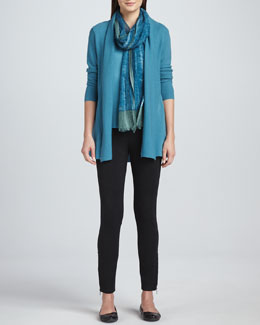 Eileen Fisher Merino Wool Links Cardigan, Silk Jersey Tee, Ponte Skinny Ankle Pants & Gauzy Wool Scarf