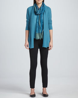 Eileen Fisher Merino Wool Links Cardigan, Silk Jersey Tee, Gauzy Wool Scarf & Ponte Skinny Ankle Pants, Women's