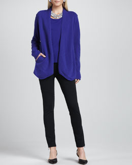 Eileen Fisher Merino-Wool Open Jacket, Cap-Sleeve Tee & Ponte Skinny Ankle Pants, Women's