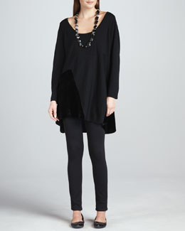 Eileen Fisher Tunic with Velvet Panels, Stretch Velvet Ankle Leggings & Washable Velvet Infinity Scarf, Women's