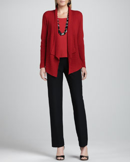 Eileen Fisher Mixed-Texture Merino Cardigan, Cap-Sleeve Tee & Straight-Leg Pants