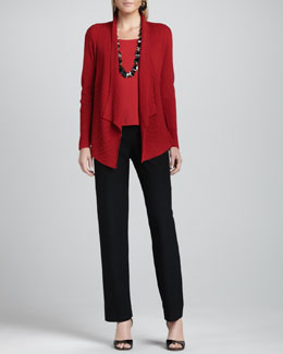 Eileen Fisher Mixed-Texture Merino Cardigan, Cap-Sleeve Tee & Straight-Leg Pants, Petite
