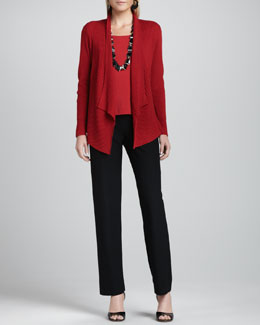 Eileen Fisher Mixed-Texture Merino Cardigan, Cap-Sleeve Tee & Straight-Leg Pants, Women's