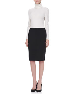 Lafayette 148 New York Long-Sleeve Cashmere Turtleneck & Stafani Leather-Zip Pencil Skirt