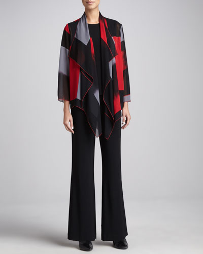Caroline Rose Block-Print Draped Jacket, Stretch-Knit Long Tank & Wide-Leg Stretch Pants