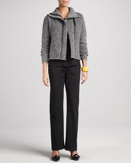 Eileen Fisher Herringbone Zip-Front Jacket, Lean Jersey Top & Modern Straight-Leg Pants, Women's