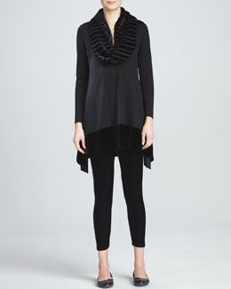Eileen Fisher Tunic with Velvet Panels, Stretch Velvet Ankle Leggings & Washable Velvet Infinity Scarf