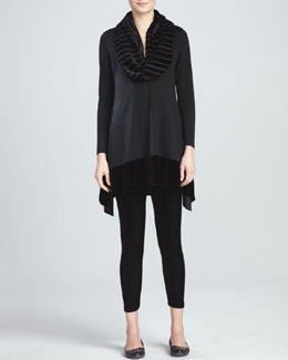 Eileen Fisher Tunic with Velvet Panels, Stretch Velvet Ankle Leggings & Washable Velvet Infinity Scarf, Petite