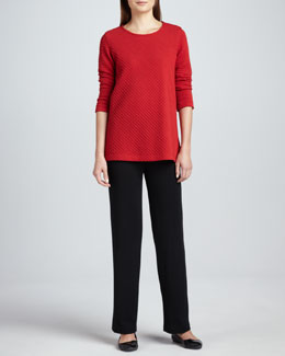 Caroline Rose Ottoman Knit 3/4-Sleeve Tunic & Flat Wool-Knit Pants, Women's