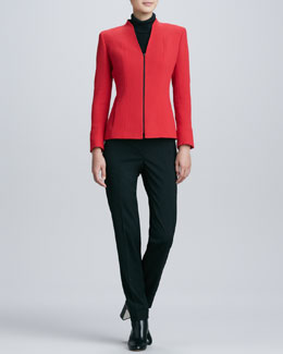 Lafayette 148 New York Tara Front-Zip Wool Jacket & Stanton Straight-Leg Pants