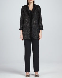 Caroline Rose Golden Tweed Ruffle-Trim Jacket, Long Tank Top & Slim Pants