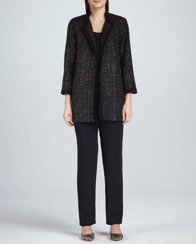 Golden Tweed Ruffle-Trim Jacket, Long Tank Top & Slim Pants