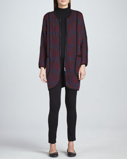 Joan Vass Bold Plaid Zip-Front Coat, Mock-Neck Top & Front-Seam Leggings