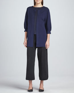 Joan Vass Open-Front Knit Coat, Geo Pattern Sweater Top & Cropped Wide-Leg Knit Pants