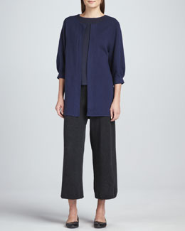 Joan Vass Open-Front Knit Coat, Geo Pattern Sweater Top & Cropped Wide-Leg Knit Pants, Women's
