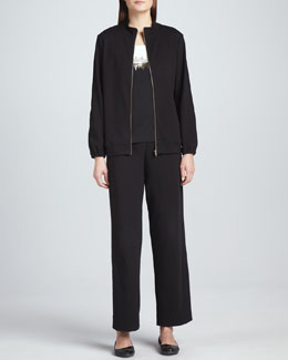 Joan Vass Two-Tone Beaded Sleeveless Shell, Interlock Stretch Zip-Front Jacket & Pants