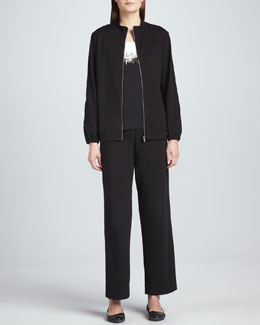 Joan Vass Two-Tone Beaded Sleeveless Shell, Interlock Stretch Zip-Front Jacket & Pants, Petite