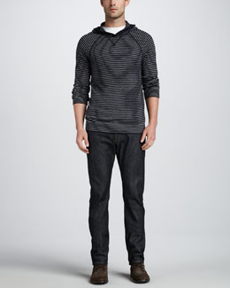Vince Striped Long-Sleeve Hoodie & Selvedge Denim Jeans