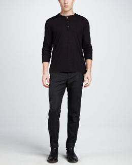 Vince Slub-Jersey Henley Shirt & Tweed Trousers