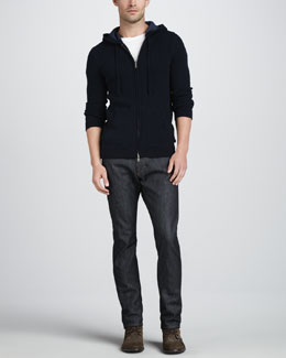 Vince Thermal Zip Hoodie & Selvedge Denim Jeans