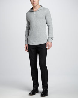 Vince Slub-Thermal Hooded Henley Shirt & Tweed Trousers