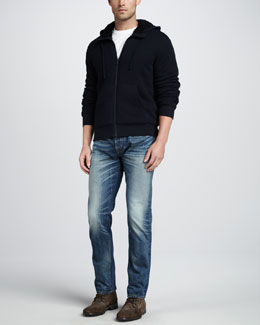 Vince Sherpa Lined Thermal Hoodie & Jefferson Selvedge Jeans