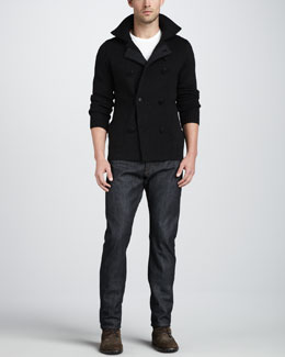 Vince Double-Breasted Knit Pea Coat & Dry Selvedge Jeans