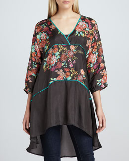 Johnny Was Collection Layered Floral-Print Tunic & Spring Jersey Tank