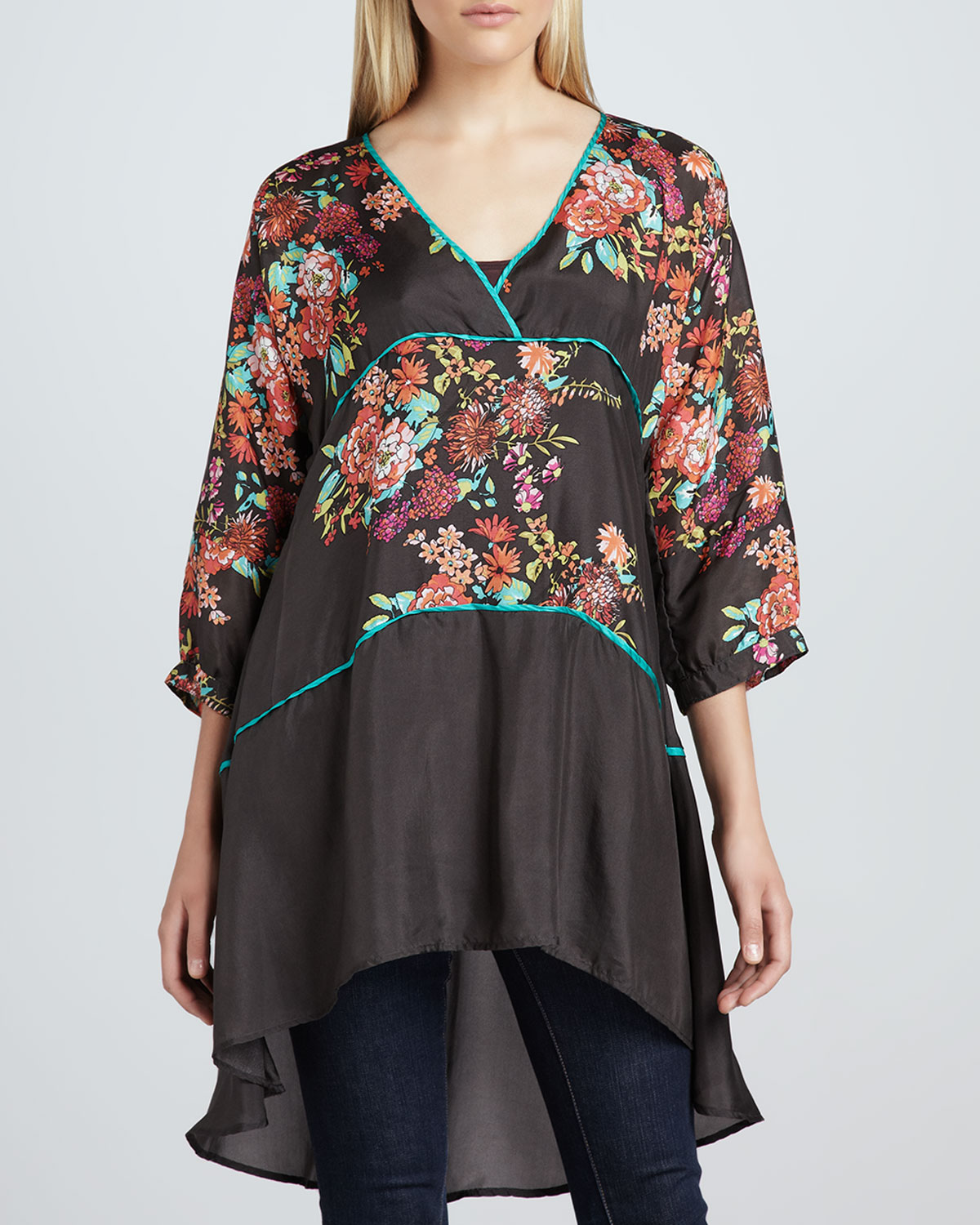Layered Floral-Print Tunic & Spring Jersey Tank, Women's
