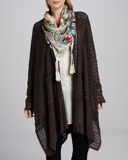 Johnny Was Collection Long Crochet Open Jacket, Embroidered Button-Front Tunic & Silver Bay Vintage Scarf