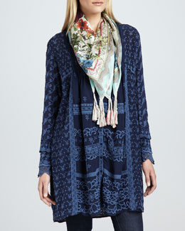Johnny Was Collection Asheena Long Tunic/Jacket & Printed Fresh Garden Scarf