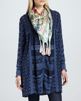 Johnny Was Collection Asheena Long Tunic/Jacket & Printed Fresh Garden Scarf, Women's