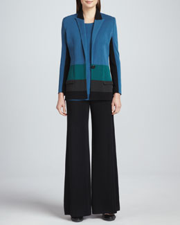 Misook Janice Colorblock Jacket, Sleeveless Knit Tank & Fit-and-Knit Palazzo Pants