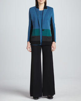 Misook Janice Colorblock Jacket, Sleeveless Knit Tank & Fit-and-Knit Palazzo Pants, Women's